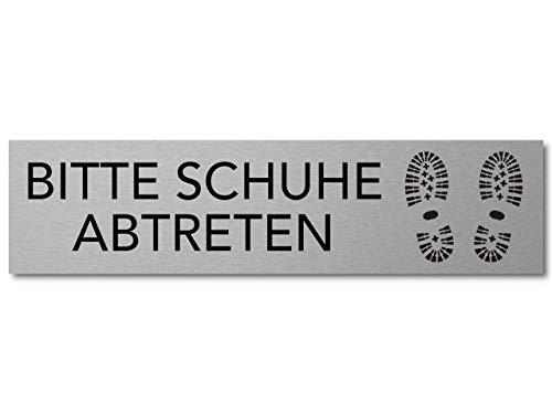 Interluxe Türschild Bitte Schuhe abtreten 200x50x3mm, selbstklebendes Schild aus Aluminium für Haus, Wohnung, Büro und Werkstatt