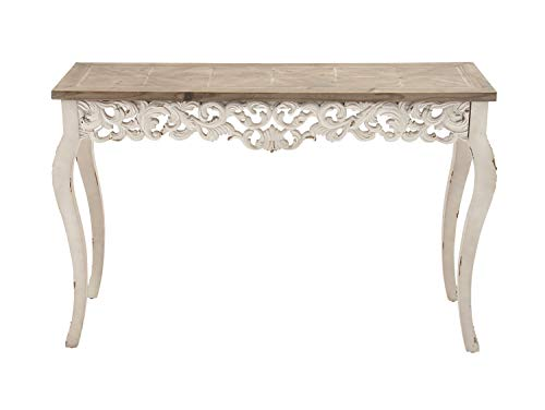 """Deco 79 56564 Natural & White Wood Console Table with Decorative Wood Carvings, 46"""" x 30"""""""