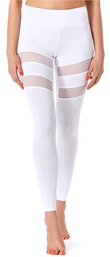 Merry Style Leggins Largos Mallas Deportivas Mujer MS10-232 (Blanco, XL)