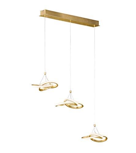 LED Pendelleuchte 3-Flammig 13 Watt Einzeln Höhenverstellbar In Blattgoldoptik