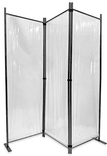 GRASEKAMP Qualität seit 1972 Paravent 165x170cm - 3tlg. transparent - Paravent Raumteiler Trennwand Sichtschutz