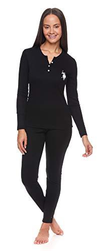 U.S. Polo Assn. Women's Pajama Thermal Underwear Set Long John Base Layer Top and Bottom (Black, Medium)