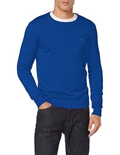 TOM TAILOR Herren Basic Crew-neck Pullover, 24248 - Bright Blue Melange, M EU