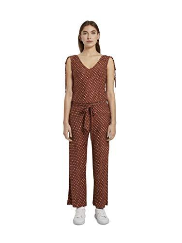 TOM TAILOR Damen Overalls & Jumpsuits Culotte-Jumpsuit mit Schleifendetail Brown Geometric Design,42,24044,8000