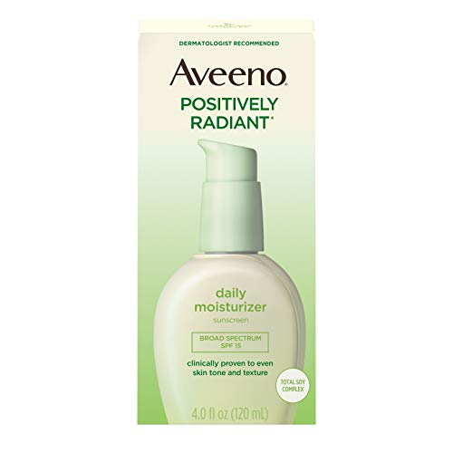 Aveeno Positively Radiant Daily Face Moisturizer with Broad Spectrum SPF 15 Sunscreen and Soy...