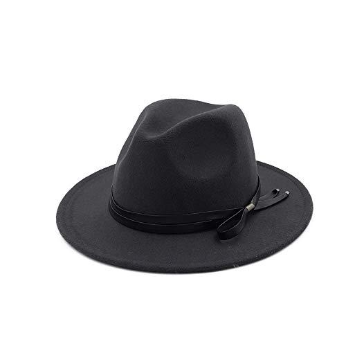 JIANGNANCHUN Crazy Jazzhat Unisex Suede Wide Brim Spring Vilt fedora's Hoeden Women Vintage Wide Brim Floppy Chapeau Femme Pnama Hat (Color : Gray, Size : 56-58)