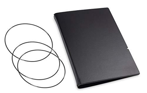 A6, revolutionäres, nachhaltiges X17-Konzept für Notizbuch Personal Organizer und Terminplaner/Hülle für 2 Hefte! Recyceltes Leder, schwarz, Made in Germany,17 Jahre Garantie*