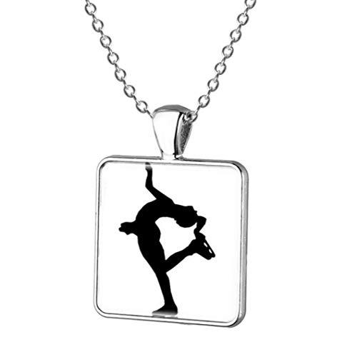 Naswi Paar Skaten Und Eistanzen Figur Anhänger Halskette Frauen Männer Eiskunstlauf Halskette Quadrat Anhänger Schmuck