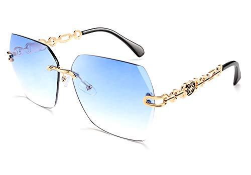 FEISEDY Gafas de sol clásicas sin montura para mujer con marco de metal y diamante de corte de lente de sol B2567