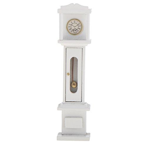 Sharplace Miniatur Retro-Standuhr / Grandfather Clock Puppenmöbel Whonzimmer für 1:12 Puppenhaus Deko Zubehör - Weiß