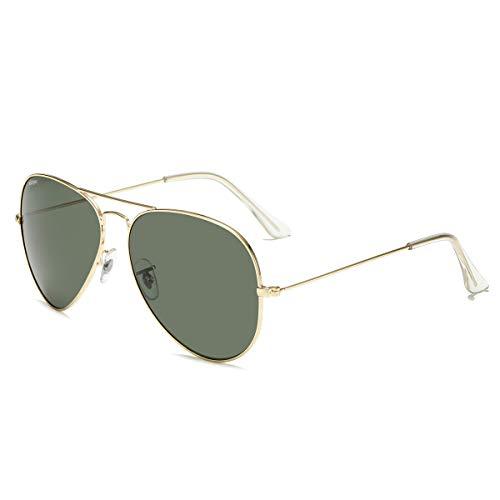 CONRAD RONTGEN Gafas de sol polarizadas de alta calidad para hombres y mujeres, (Gold Frame/Blackish Green Lens), Medium