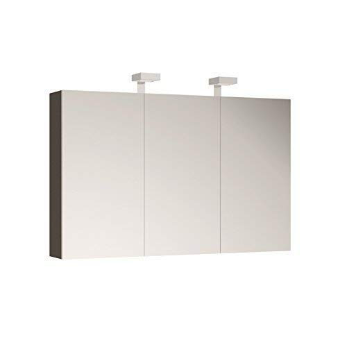 Allibert Spiegelschrank Spiegel Badmöbel vormontiert 120cm mit LED-Beleuchtung Korpus grau Asphalt glänzend