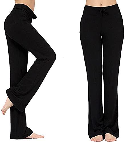 LARAKA Pantalones largos modales cómodos con cordón para mujer, sueltos, pierna recta, para yoga, correr, deportes, etc