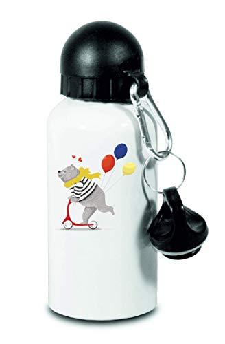 Drucklebnis24 Botella – Circo Bär Ballon Roller – para niños, escuela, deporte, fitness – Botella de agua fina de aluminio, color Blanco, tamaño 500 ml