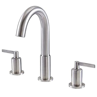 KINGO HOME Commercial Durable Vanity Widespread 2 Handles 3 Holes Brushed Nickel Bathroom Faucet, Bathroom Sink Faucet with Water Supply Lines and Pop Up Drain