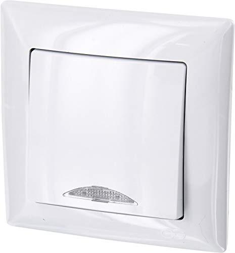 UP Ein-/Ausschalter mit LED-Beleuchtung - All-in-One - Rahmen + Unterputz-Einsatz + Abdeckung (Serie G1 reinweiß)