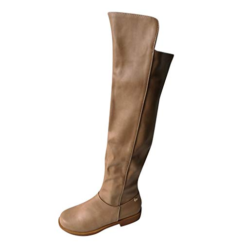 Hurrybuy Women's Knee High Western Flat Riding Boots Thigh High Boot - Easy Heel Khaki