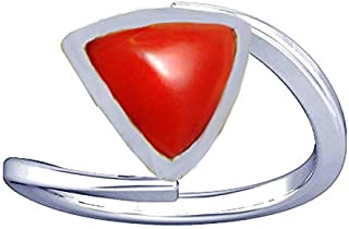 Divya Shakti 6.25-6.50 Carats Triangular Red Coral Ring (Moonga/Munga Stone Silver Ring) 100% Original Natural AAA Quality Gemstone for Women (8.5)