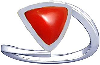 Divya Shakti 5.25-5.50 Ratti Triangular Red Coral Ring (Moonga/Munga Stone Silver Ring) Natural AAA Quality Gemstone for Women