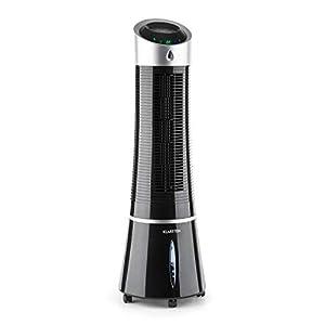 Klarstein Skyscraper Ice - Enfriador de Aire 3 en 1, Climatizador evaporativo, 30W, 210m³/h, Ventilador, Humidificador, 3 velocidades, Modos: Normal, Natural y Nocturno, Mando a Distancia, Negro