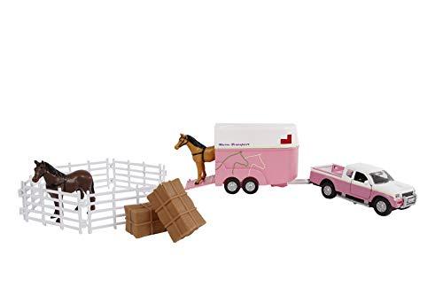 Kids Globe Traffic The Cast Mitsubishi 520205 - Remolque para Caballos, Valla, Caballos, Valla, comederos (Rosa, 27 cm)