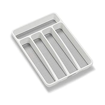 madesmart Classic Mini Silverware Tray - White   CLASSIC COLLECTION   5-Compartments   Kitchen Organizer  Soft-grip Lining and Non-slip Rubber Feet   BPA-Free