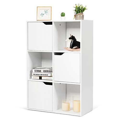 RELAX4LIFE Bücherschrank 6 Fächer, freistehendes Bücherregal mit 3 Türen, stabiles Standregal, Büroregal aus Holz für Wohnzimmer & Studierzimmer & Flur & Büro, Ordnerregal bis 80 kg belastbar, weiß