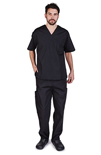 NATURAL UNIFORMS Men's Scrub Set Medical Scrub Top and Pants L Black