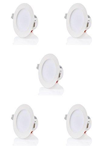 sweet-led 5er FLACH 5W IP44 Einbaustrahler Badleuchten, 230V kaltweiß 6500K, Deckeneinbaustrahler, LED Einbauleuchte Bad Deckenspot