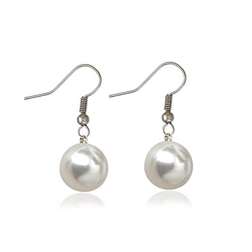 QIN Simple shaking ear 8mm simulation pearl drip earrings women's jewel girl gift