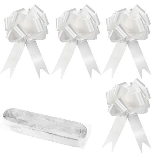YapitHome 30 Piezas Lazos Regalos Grandes Lazos Grandes Blanco Lazos Decorativos, para Decoración de Navidad, Boda, Fiesta, Día de San Valentín y Lazo de Regalo de Cumpleaños (Blanco)