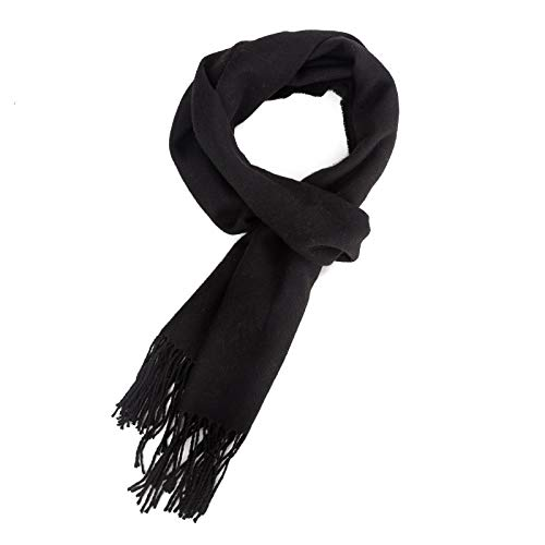 ALBERTO CABALE Women Men Lovers Unisex Smooth Cashmere Scarf Super Soft Plaid Solid Wrap Shawl Scarf in Gift Box Black