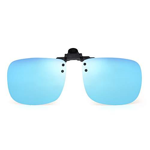 JM Polarizadas Clip en Gafas de Sol Sin Marco Flip up Lente Para Gafas Graduadas Azul Espejo