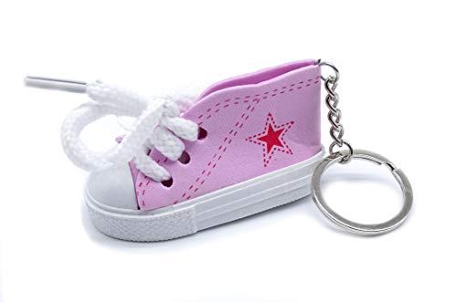 onweerstaanbaar1 Leuke 7 cm Trainer Sneaker schoen met witte schoenveters op een metalen sleutelhanger in roze