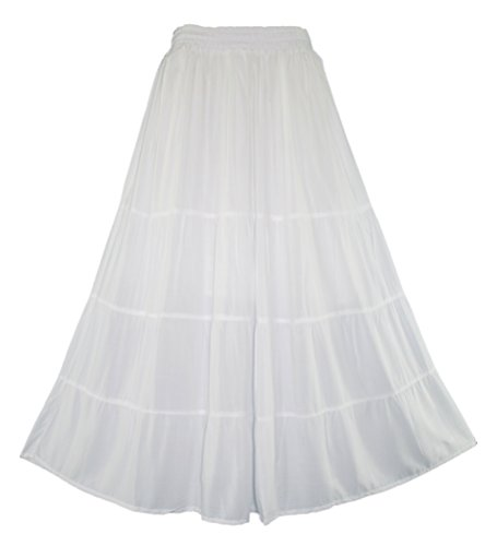 Beautybatik White Women Boho Gypsy Long Maxi Tiered Peasant Skirt 3X