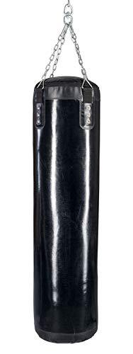 Budodrake Boxsack gefüllt Kunstleder inkl. Aufhänger, Sandsack schwarz (130 cm)
