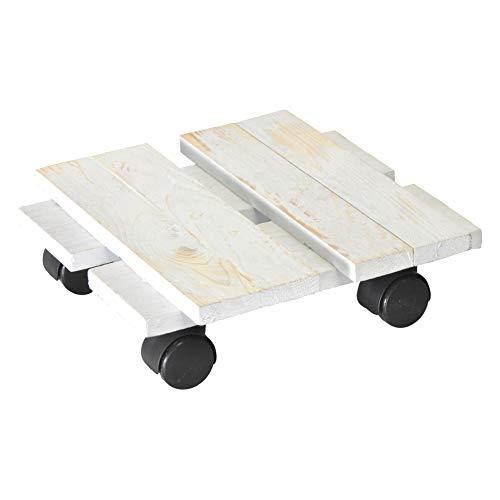 WAGNER Chariot de Plantes LOFT Shabby Chic 28 x 28 x 8 cm | pour intérieur | Style rétro en Bois Massif ondulé, certifié FSC®, Brut de sciage, Blanc | Capacité de Charge 100 kg - 20085601