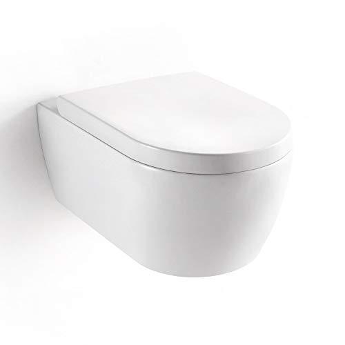 WC suspendu sans bride MEZZO, Abattant de haute qualité declipsable pour un entretien facile, traitement...