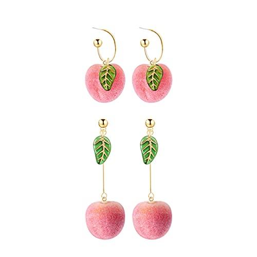 Generic 2 Pares de Durazno Rosa Realista con Pendientes de Gota de Hoja Pendientes de Aro de Fruta Regalos de Joyería para Mujeres Niñas Adolescentes