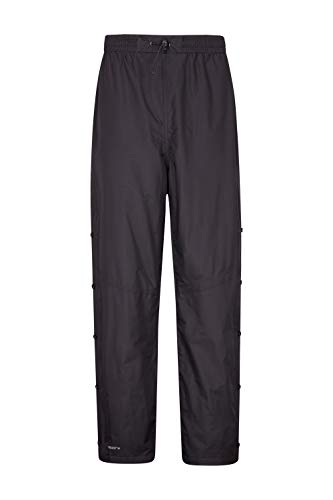 Mountain Warehouse Downpour Mens Waterproof Overtrousers - Breathable Rain Pants, Ripstop Black L