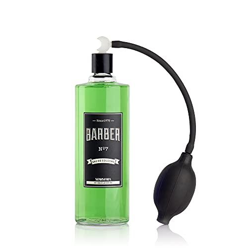 BARBER MARMARA No.7 Eau de Cologne men con atomizador de bomba de bola en una botella de vidrio 1x 500ml - After Shave Men - Agua perfumada - Refresca y refresca - Spray de barbería - Spray corporal