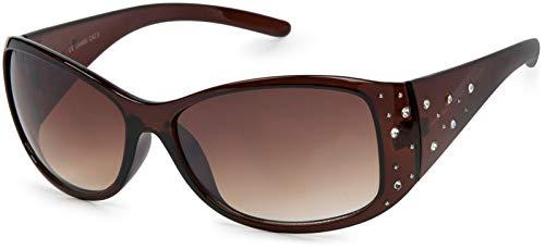 styleBREAKER Sonnenbrille mit Strasssteine und Verlaufstönung, Schmetterlingsform, Damen 09020055, Farbe:Gestell Braun/Glas Braun Verlaufsglas