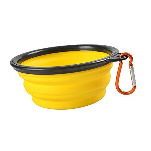 Inklapbare opvouwbare siliconen hondenmand in de open lucht speelruimte beweegbare puppy hondenvoer container feeder geel