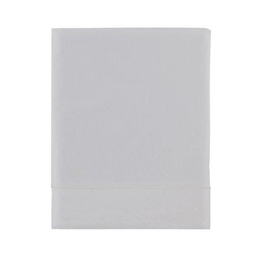 Essix - Drap Plat Royal Line Percale de Coton Gris perle 270 x 300 cm