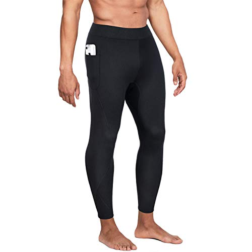Wonderience Men Hot Neoprene Sauna Sweat Pants Slimming Body Shaper for Weight Loss Hot Thermo Leggings Workout Pants (Black, Large)