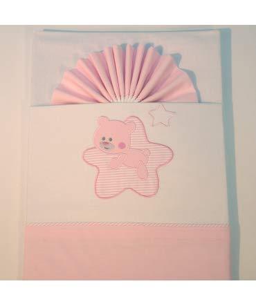 10XDIEZ Juego de sábanas Cuna Star Blanco/Rosa - Medidas sabanas bebé - Cuna (60x120cm)