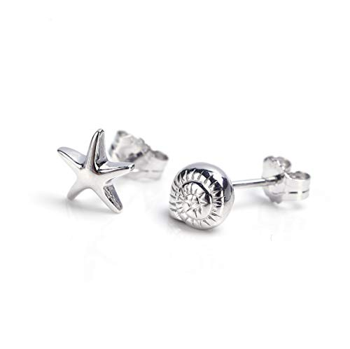 EME 925 sterling silver sea snail sea star sea shell cute stud asymmetric earrings for girls and young ladies (Silver)