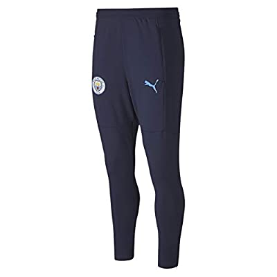 World Cup Soccer MANCHESTER CITY Mens MANCHESTER CITY TRAINING PANTS WITH ZIP POCKETS AND ZIP LEGS, Peacoat-Team Light Blue, XL