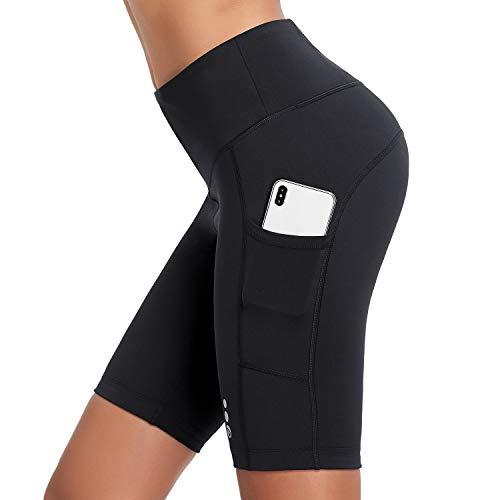 BALEAF Women's 9' Biker Shorts High Waisted Long Compression Running Workout Shorts Side Pockets UPF50+ Black L