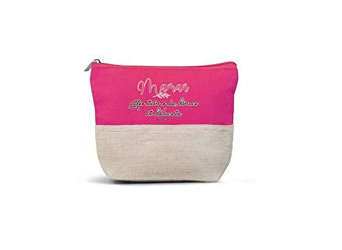 Bubble Gum - Trousse de Maquillage Maman Attentionnée - 22 x 16 x 6 cm - Couleur Rose - Coton Bio et Jute